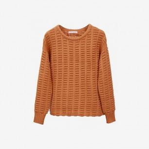 青集站设计师款纯色编织毛线上衣