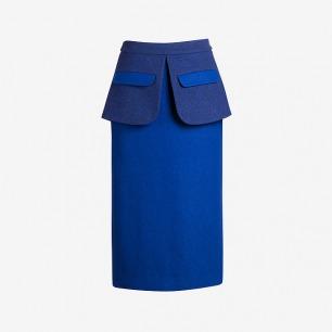 省道尖Sungdo gin羊毛毛呢拼接双层七分包臀裙