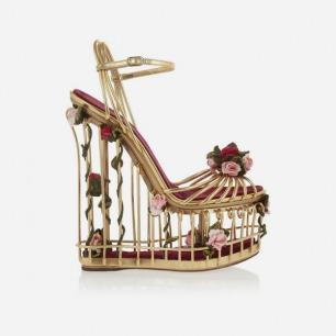 DOLCE & GABBANA 玫瑰缀饰金属色皮质笼状凉鞋