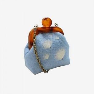 Kun 蒲公英淡蓝复古羊毛小挎包