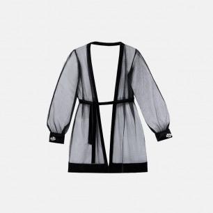 熔夜黑色网纱睡袍 | 质感网纱,精致水钻袖扣