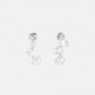 巴洛克珍珠对称款耳钉 | 天然巴洛克珍珠手工镶嵌