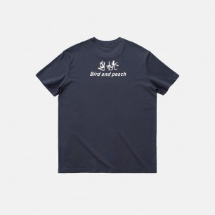 印花鸟桃文字-短袖T恤 | 选用21支纱精梳棉