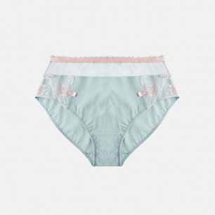 复古设计中高腰网纱内裤 | 腰头抽褶设计  外露小飞边