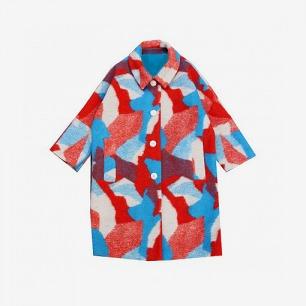 「豆屋」冬季新款复古长款茧形羊毛呢大衣廓形外套 原创