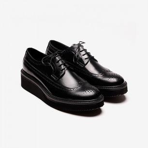 厚底系带皮鞋