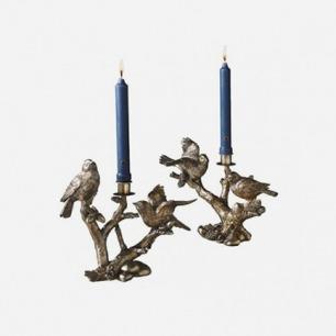 香槟色小鸟在枝头烛台
