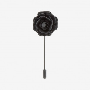 Lanvin Black Metal Flower Tie Pin for men | SSENSE
