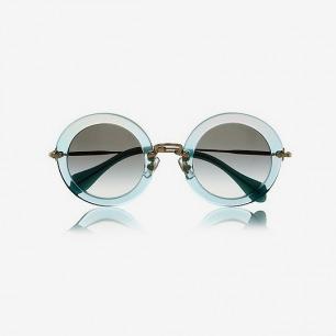 Miu Miu亮片金葱饰面板材和金属茶色太阳镜