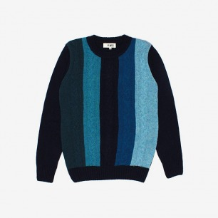 YMC Intarsia Cable Knit Blue