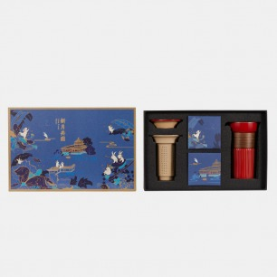 萃取融单人茶具月饼套装 | 中国红茶具+广州酒家月饼