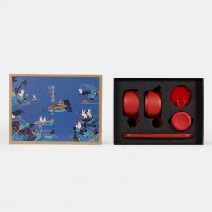 新月共圆 满珠·壶叠杯套装 | 琉璃蓝茶具+福鼎白茶礼盒