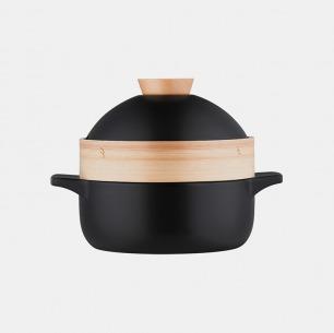 黑色砂锅煲   上蒸下煮,双容量可选