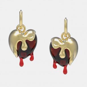 红色融化小爱心耳环 | 树脂材质 精致设计款