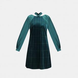 极光绿条纹丝绒泡泡袖睡裙 | 冬日的居家礼服