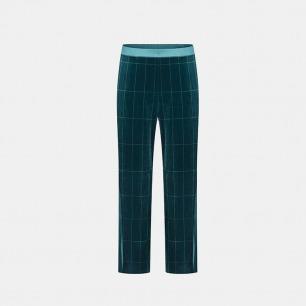 极光绿条纹丝绒休闲睡裤 | 居家穿出欢聚仪式感