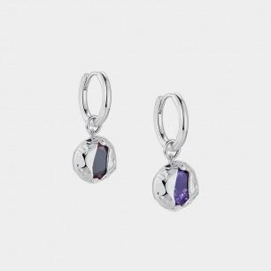 破壳圆形宝石耳环 | 创新镶嵌工艺,将锆石包裹