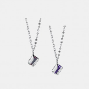 破壳方形宝石拼接链条项链 | 创新镶嵌工艺,将锆石包裹