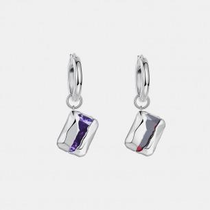 破壳方形宝石耳环  | 创新镶嵌工艺,将锆石包裹