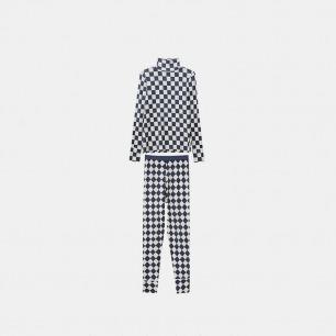 黑白格秋衣秋裤套装 | 40支莫代尔高清数码印花