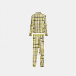 黄格子秋衣秋裤套装 | 40支莫代尔马田橡筋