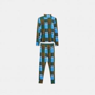 蓝格子秋衣秋裤套装 | 40支莫代尔 马田橡筋