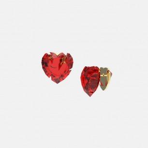 破碎红宝石爱心耳环 | 金属切割可折射立体光正反可戴