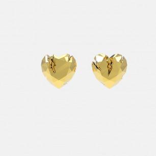 金色破碎心形耳环 | 金属切割可折射立体光正反可戴