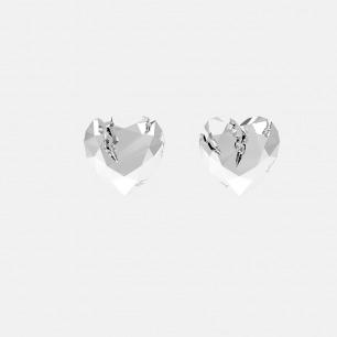银色破碎心形耳环 | 金属切割可折射立体光正反可戴