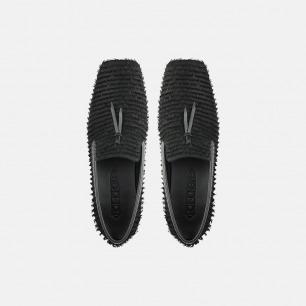 条纹切割皮艺术单鞋   独特皮面切割工艺