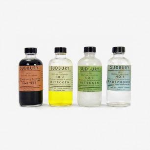 Vintage 1950s soil testing lab bottles