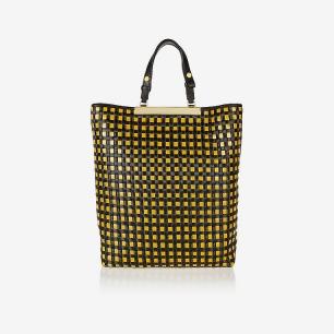 MARNI -编织皮革和酒椰叶纤维手提包