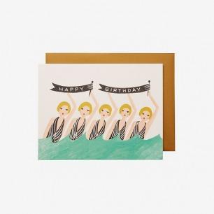 SYNCHRONIZED SWIMMERS BIRTHDAY GREETING CARD