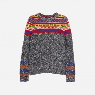 J.CREW 费尔岛式杂色图案针织羊毛混纺毛衣