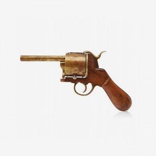 Handmade Wood and Brass Pistol Ink Well