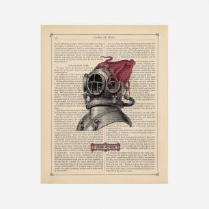 Vintage book Art Print 潜水员头盔藝術打印古董書紙