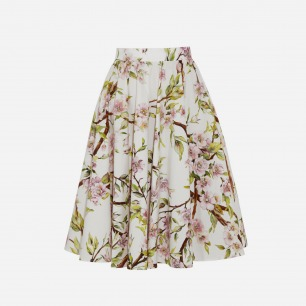 DOLCE & GABBANA 花卉印花纯棉府绸半身裙