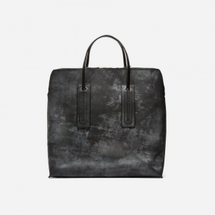 Black Mottled & Etched Square Tote Bag by Rick Owens