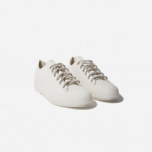 FEIT WOMEN'S HANDSEWN LEATHER LOW SNEAKERS IN WHITE