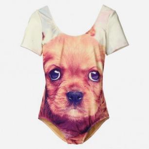 狗狗图案连体泳衣