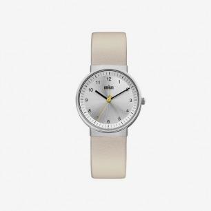 德国代购Braun博朗 (silver/cream)真皮手表
