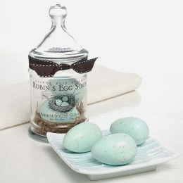 Blue Robin's Egg French Milled Soaps in Apothecary Jar