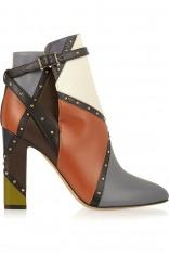 Valentino铆钉拼色皮革及踝靴