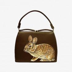 vintage古作孤品棉尾兔巧克力维多利亚闭合开口手提包
