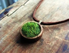Wood and Grass Necklace Faux Grass in Genuine Wood by aptoArt