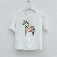女款 几何 腔调 彩色 斑马印花 短款白色T恤 T-Shirt