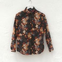 女款 floral print 复古 油画花朵 印花长袖 雪纺衬衫