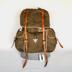 Vintage Military Hiking Backpack / Canvas Rucksack / Khaki Brown Leather Straps and Zipper