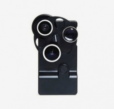 iPhone4/4S 金属三眼转盘镜头外壳 鱼眼 广角 微距镜