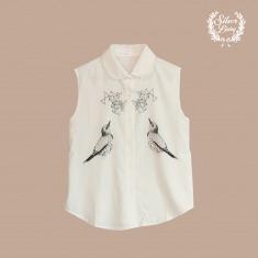 Silver Lining独立设计品牌无袖印花衬衫·文雀